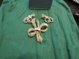 Vintage Pell Signed Rhinestone/Baquette Bow Set Brooch, Clip Earrings