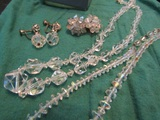 Vintage Coro Signed Dangle Earrings, Sterling Silver Clasp Crystal Necklace and Other