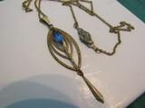 Vintage Art Nouveau Blue Colored, Pat. Pend Necklace