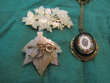 Victorian MOP Brooch/Pins and Blackstone Mosiac Tile Necklace