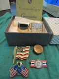 Sovereign Clock Cuff Links and Vintage Patriotic Pins