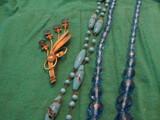 Vintage Blue Glass Necklace and Blue Sterling Brooch