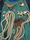 Vintage Jewelry Lot, Brooch, Pin, Necklaces