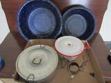 Vintage Metal Enamel Bowls/Pots and Warming Candle Holder