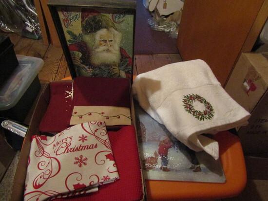 Vintage Christmas, Towels, Cutting Board, Santa
