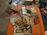 Antique/Vintage Sewing Lot , Dye, Buttons, Needles, Advertising