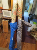Lot of 2 Rolls of Fabric, Floral Designs, 57