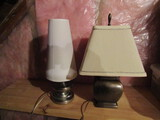 Lot of 2 Table Lamps, Metal Base with Shades