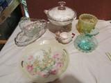 Lot of Vintage Glass, Germany Plate, Blue Vase, Egg Holders