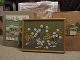 Large Needle Point Picture, 1- Yarn 3D Art, 1-Uncompleted with Frame