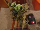 Vintage Wood Doll Craddle, Painted Crock, Dry Flowers