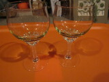 2 Vintage Twisted Stemware Glass with Olivegreen Tinge Color Glass