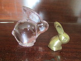Oneida Crystal Pink Rabbit and Small Brass Rabbits