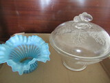 Large Covered Acorn Antique Bowl and Stripe Blue -Has Been repaired