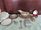 Vintage Silver Plate Gravy Boat and Tray, Bell, Ashtray