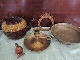 Gibson England Pottery Tea Pot, Round Metal Frame, Candle, Bird, Bowl