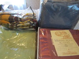 Lot of 4 Blankets, Blue, Yellow, Green, Mauve
