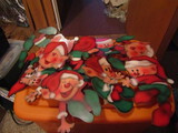 Lot of 10 Vintage Sawdust and Stitches Elf Wood Shelf Setters, 7-9