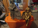 Vintage Angel Shelf Setter and Joseph and Mary Figurine with Box