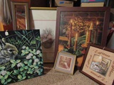 Lot of 6 Framed, Canvas and Mirror Art Prints, Pick up Only