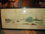 Antique/Vintage Watercolor Painting by S. Brooks, Wood Frame, 37' x 18