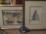 Lot of 2 Signed Art, Tree and Sailboats, Watercoloring?