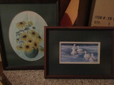 Lot of 2, Daisy Art and Signed Susan Spencer Watercolor