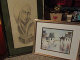 Lot of 2 Signed, Watercolor and Modernist Print
