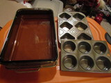 Vintage Pyrex Cassarole Dish with Holder and 2 Muffin Pans, 1-EKCO