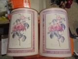 Lot of 2 Vintage Metal Trash Cans, Floral Design