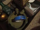 Vintage Décor, Soap Dish, Pottery Bird Bath, Tin Holder, Bag of Wooden Spools