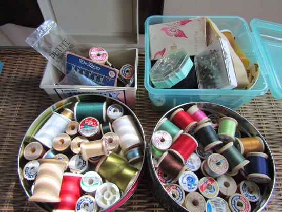 Large Lot of Vintage Sewing, Thread, Needles, Tins