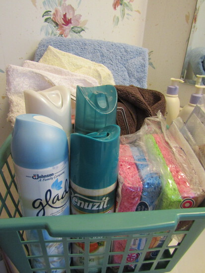 Bathroom Towels, Sponges- new, Air Fresheners