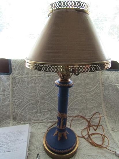 "Jasperware 15"" Lamp and Shade with Tears"