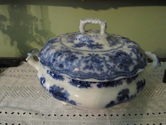 Wm. Adams and Sons, Fairy Villas Flow Blue Tureen/Covered Dish, No Damage or Repairs Noted