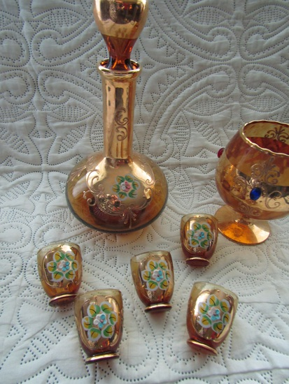 Bohemian DeCanter with 5 Shot Glasses and Jeweled Italy Stem Glass