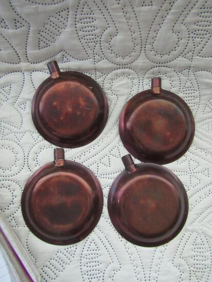 4 Roycroft Copper Ashtrays, Stamped