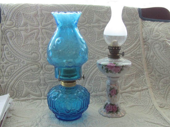 """2 Vintage Oil Lamps, 13"""" and 14"""" Tall"""