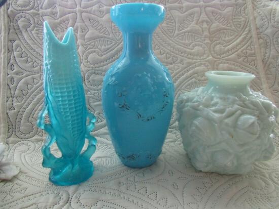 Antique and Vintage Milk Glass Vases and Corn Cob Vase