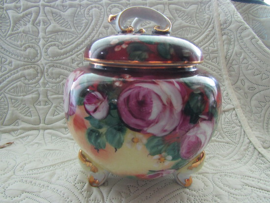 Limoges China Handpainted Footed Bowl with Lid