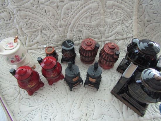 Vintage Pot Belly Stove Shakers and Bookends