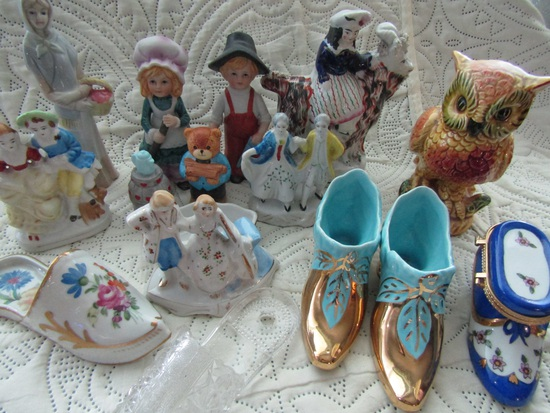 Variety of Vintage Figurines and Victorian Shoes