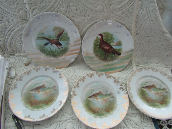 Vintage Germany Scenic Duck, Turkey and Fish Handpainted Plates