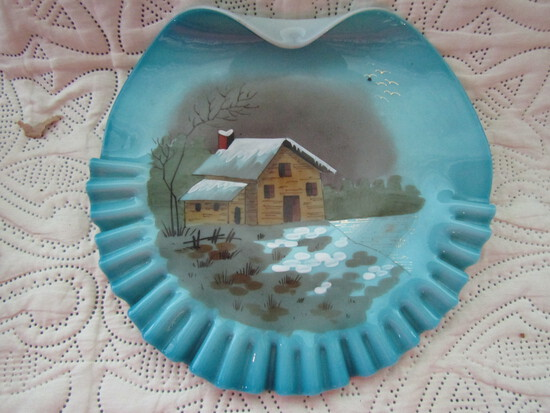 Blue Scenic Handblown Painted Plate