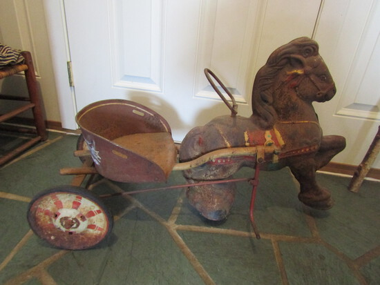 Antique Mobo Pony Express Metal Pedal Horse with Cart, Working Condition