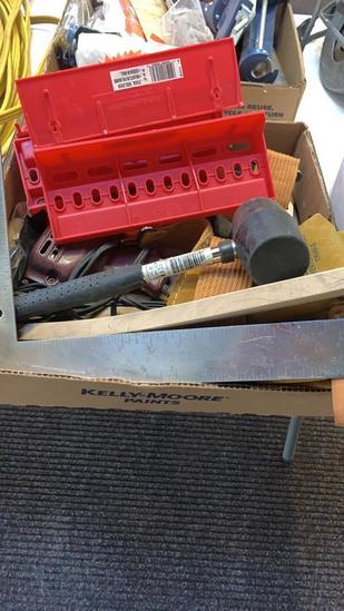Box of soldering gun, tool holders, tool belt,
