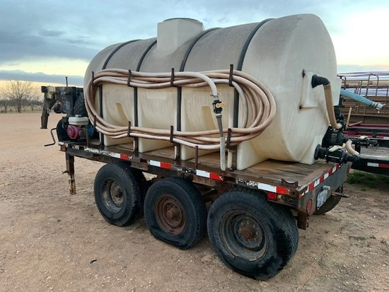 1600 Gal Water Tank On Trailer With 2 Pumps