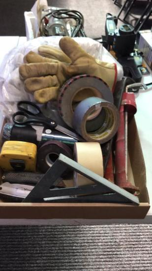 Box of caulking guns, duct & electrical tape,
