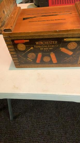 Wood Winchester box and tin