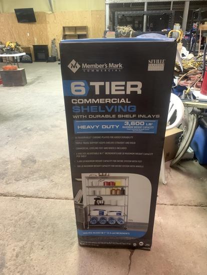6 tier commercial shelving w/wheels